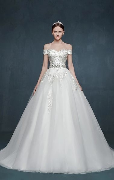 蕾絲一字肩公主蓬蓬裙小拖尾婚紗浪漫新娘結婚禮服-lany005