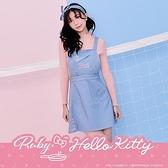 洋裝 Hello Kitty x Ruby 聯名款.刺繡吊帶背心牛仔洋裝-Ruby s 露比午茶