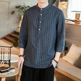 棉麻上衣男 復古條紋短袖襯衫上衣(2色 M-5XL)