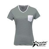 PolarStar 女 排汗快乾條紋T恤『綠』P17138 吸濕排汗透氣T-shirt短袖運動服瑜珈休閒服短袖透氣運動服