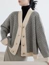 針織外套 2021春秋復古針織開衫女條紋慵懶風寬松外套加厚粗線百搭外穿毛衣 薇薇