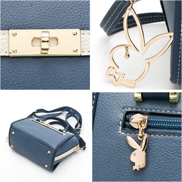 PLAYBOY- 手提包-附長背帶/寬背帶 摩登都市系列 -棕色