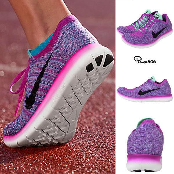 Nike 慢跑鞋 Free RN Flyknit GS Run 5.0 運動鞋 紫 黑 基本款 女鞋 大童鞋【PUMP306】 834363-500