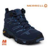 【Merrell】女款HIKING 郊山健行MOAB 2 MID GTX多功能系列  - 藍黑 (41096)【全方位運動戶外館】