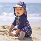 兒童泳衣 英倫風兒童防曬泳衣男童寶寶連體嬰幼兒1-3歲速干2-6歲小童沖浪服 小宅女