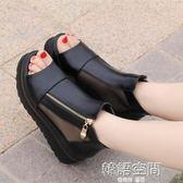 涼鞋女士春夏季新款潮學生韓版百搭厚底鬆糕坡跟高跟鞋女鞋子 韓語空間