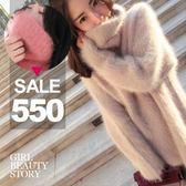 SISI【L7100】自然甜美水貂絨堆堆領舒適溫暖修身中長款俏麗連身裙洋裝上衣