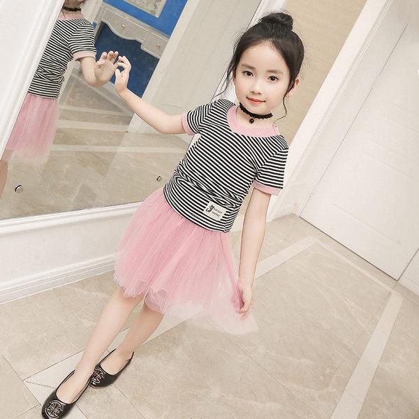 衣童趣♥韓版女童 夏季新款 橫條紋短袖T+網紗公主風半身裙 兩件式套裝 氣質款必備