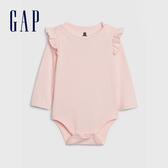 Gap嬰兒 布萊納小熊系列 簡約風格純色長袖包屁衣 615974-淺粉色