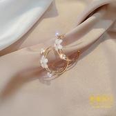 S925銀針水鉆簡約大氣花朵耳釘時尚優雅圓圈耳環女【輕奢時代】