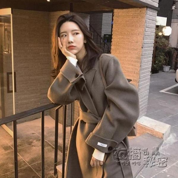 毛呢外套女中長款韓國秋冬加厚高端氣質過膝小個子赫本風呢子大衣 雙十二全館免運