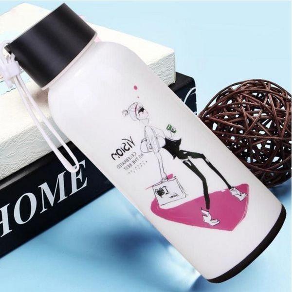 水杯【KCG091】白色時尚女孩玻璃水杯310ml 水瓶 瓶子 咖啡杯 隨行杯 水壺-123ok
