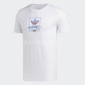adidas 短袖T恤 Grand TEE 白 藍 男款 滑板 運動 棉質 三葉草 【PUMP306】 DU8341