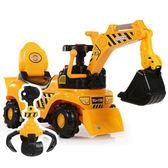 新款兒童電動挖掘機男孩玩具車挖土機可坐可騎大號學步腳踏工程車 sxx1331 【衣好月圓】