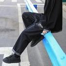 牛仔褲 褲子港風潮流寬鬆闊腿牛仔褲男藍色直筒闊腿chic潮牌 果果生活館