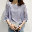 雪紡襯衫一字領短袖女2021夏新款韓版條紋寬鬆泡泡袖上衣洋氣小衫