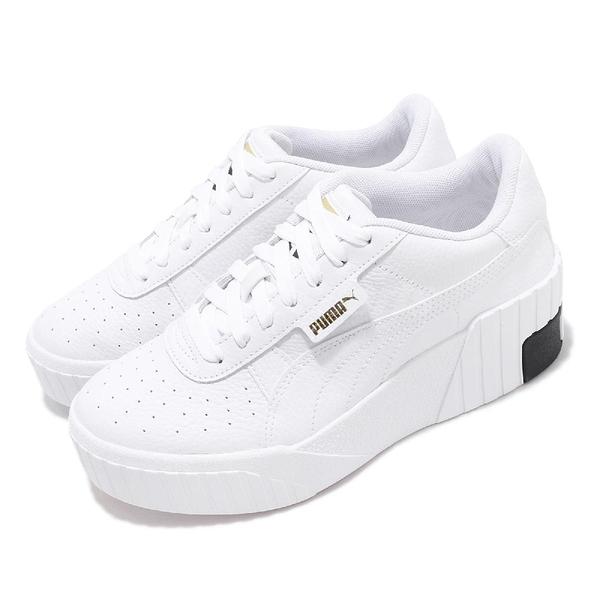 Puma 休閒鞋 Cali Wedge Wns 白 黑 女鞋 增高 厚底 皮革 運動鞋 【ACS】 37343803
