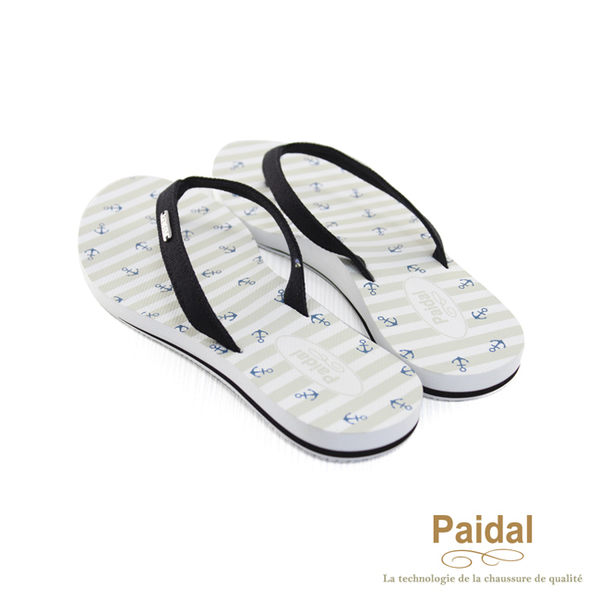 Paidal 海洋風橫條海錨足弓款夾腳拖鞋-黑