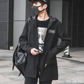 大尺碼連帽衛衣外套 新款中長款風衣加大碼休閒夾克青年休閒寬鬆外套 QQ10490『bad boy時尚』