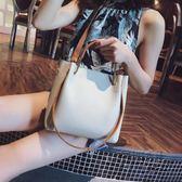 手提包包女新款潮韓版百搭斜背包簡約時尚單肩包大容量水桶包 衣櫥秘密