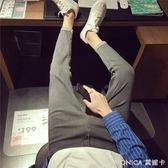 男士牛仔褲秋季新款韓版潮流褲子男修身長褲日系復古小腳褲黑色 美斯特精品
