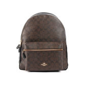 【COACH】經典LOGO皮革+帆布 後背包(巧克力) F58314 IMAA8