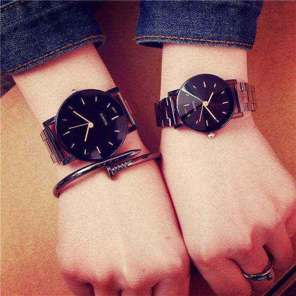 手錶 女手錶正韓簡約女中學生時尚潮流男士鋼帶防水石英錶【八五折免運直出】