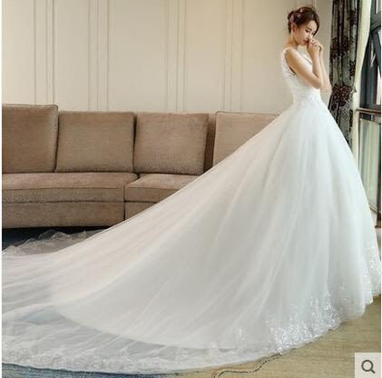 新款春季韓式V領顯瘦公主大碼拖尾新娘婚紗禮服YY1838『毛菇小象』