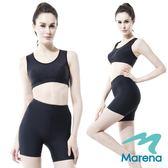【美國原裝MARENA】魔塑中腰三分塑身褲/顯瘦機能安全褲(黑膚白)