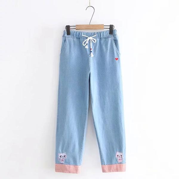 *ORead*日系小清新愛心貓咪刺繡抽繩牛仔長褲(淺藍色S~L)