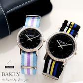 【完全計時】手錶館│BAKLY 都會時尚簡約對錶 BAS6111 全黑 瑞士機芯/水晶鏡面對錶 帆布