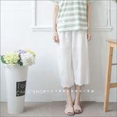 寬褲    森林系蕾絲刺繡有內裏棉麻七分褲.襯褲    三色-小C館日系