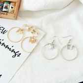 時尚 流行 蝴蝶 圓圈 幾何 耳環 耳夾 無耳洞 耳環 飾品