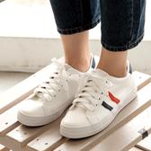 休閒鞋.MIT舒適拚色線條厚底帆布小白鞋.白鳥麗子