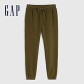 Gap女裝 碳素軟磨系列 簡約鬆緊休閒褲 658952-橄欖綠