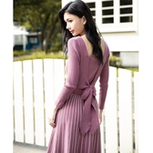 秋冬7折[H2O]後蝴蝶結裝飾雙色織紋中長版毛線洋裝 - 藍/粉/淺紫色 #0630003
