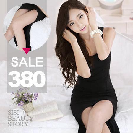 SISI【D4178】優雅名媛圓領無袖緊身不規則襬背心連身長裙洋裝情侶約會