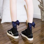 襪子女花邊中筒襪天鵝絨正韓學院風日系美腿襪蝴蝶結繫帶女襪【極有家】