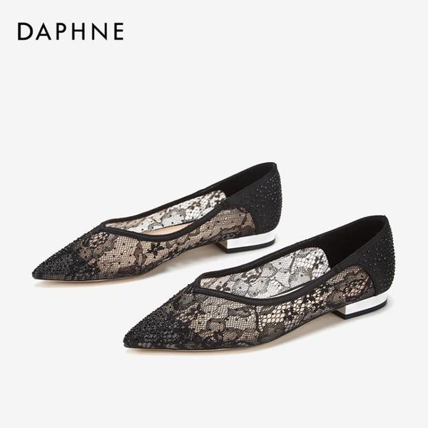 蕾絲鞋 春新款優雅蕾絲尖頭女鞋閃耀鉆飾舒適低跟休閑單鞋 格蘭小鋪
