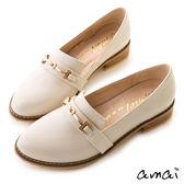 amai質感金釦微尖頭樂福紳士鞋 灰
