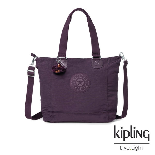 Kipling深紫素面手提包-SHOPPER
