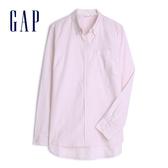 Gap 女裝 棉質舒適角扣領長袖襯衫 269247-粉色條紋