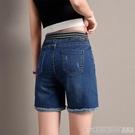 五分褲六折 牛仔短褲女鬆緊腰2020夏新款薄款彈力修身顯瘦高腰大碼熱褲四分褲 印象家品
