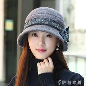 毛帽 帽子女韓版潮時尚百搭禮帽貝雷帽女士羊毛呢盆帽漁夫帽 伊鞋本鋪