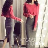 2017新款套裝 時尚性感修身包臀兩件套長裙連身裙 米蘭shoe