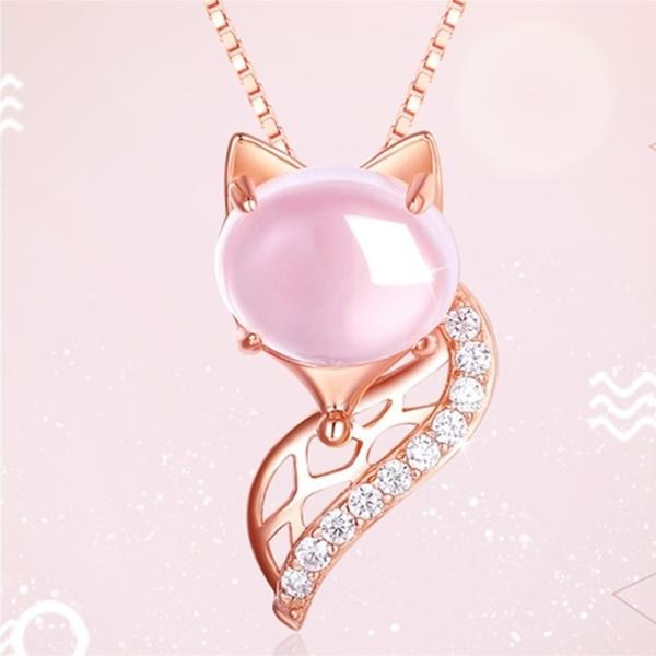 項鍊 優雅狐狸甜美粉晶鋯石玫瑰金 925銀 鎖骨鍊
