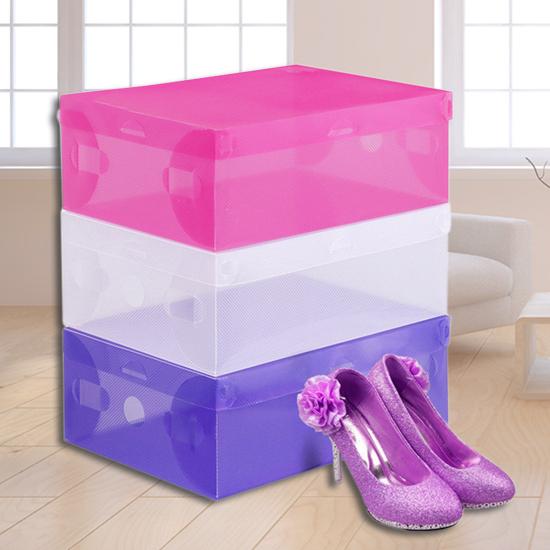 翻蓋式 透明鞋盒 收納盒 玩具盒 收納箱 透視 可折疊 分類 置物盒 DIY組裝【B070】慢思行