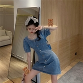 方領牛仔裙洋裝女顯瘦收腰法式夏季氣質仙女裙復古小眾森系裙子 【中秋節】