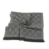 GUCCI LOGO純羊毛寬版圍巾披巾(鐵灰)