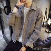 男士秋季外套2017新款休閒韓版夾克學生s碼帥氣百搭牛仔衣服潮。 深藏blue